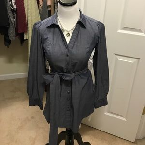 Anthropologie Odille Blue Chambray Belted Tunic 2