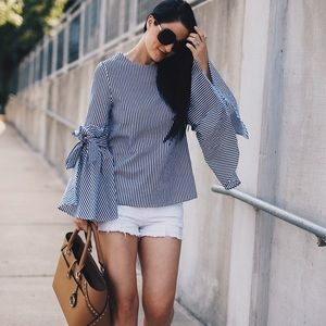 Chicwish Striped Bell Sleeve Blouse