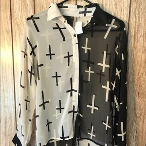 Mono B Tops - Mono B cross print blouse