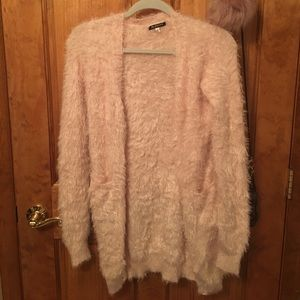 36 Point 5 Sweaters - Furry Cardigan Sweater Light Pink Small
