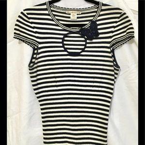 Nanette Lepore keyhole fitted knit stripe Sz M