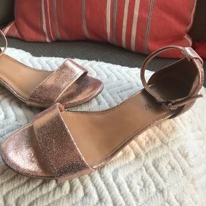 J. Crew Shoes - Jcrew ankle strap sandals rose gold wedge