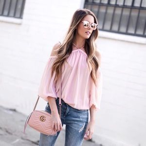 State Tops - 1.STATE Off the Shoulder Sheer Chiffon Blouse 11a2fb81a1de