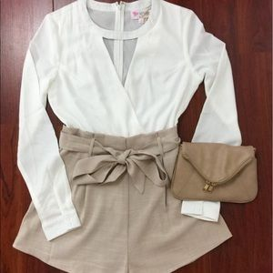 Pants - White and tan romper