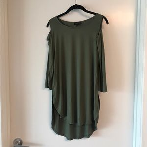 The Limited Tops - Limited olive green cold shoulder tunic. Size L.