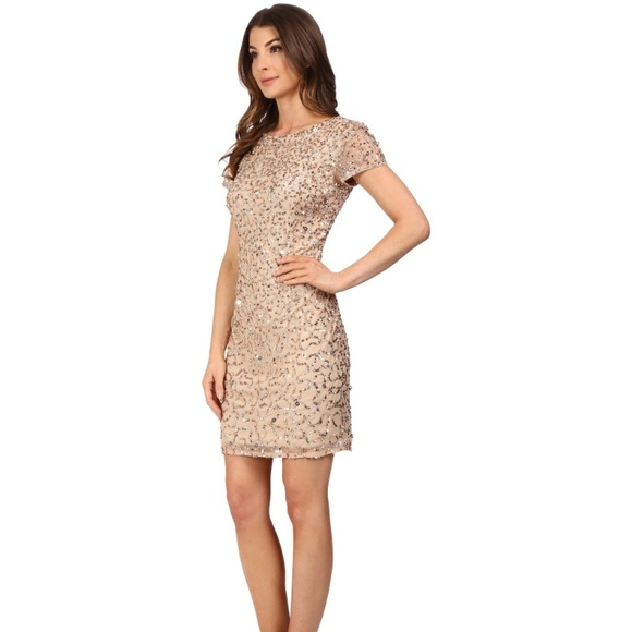 30713610218 Adrianna Papell Dresses   Skirts - Adrianna Papell gold sequin cocktail  dress size 0