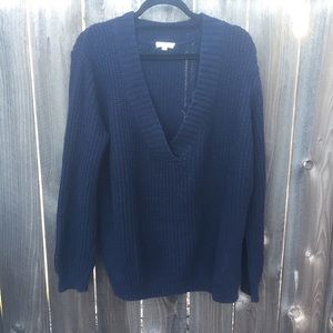 silence + noise Sweaters - SILENCE AND NOISE BLUE V NECK KNIT SWEATER SZ S