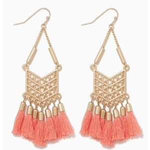 Coral and Gold Tassel Earrings