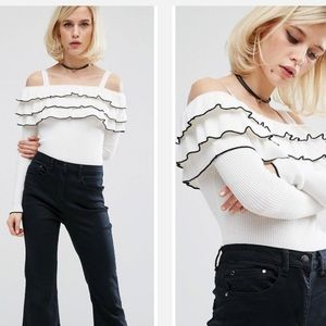 ASOS Sweaters - Asos White Cold Shoulder Ruffle Off shoulder knit