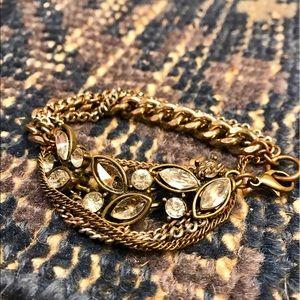 Anthropologie Chain and Rhinestone bracelet