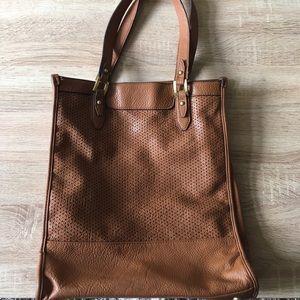 Merona Laser Cut Tote Cognac Handbag