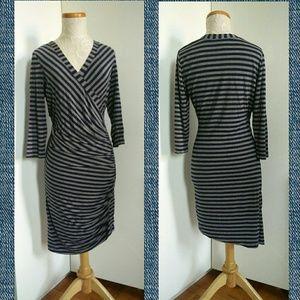 PLENTY by Tracy Reese Striped Faux Wrap Dress M