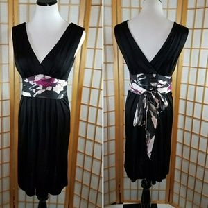 Ted Baker black v-neck dress with floral sash