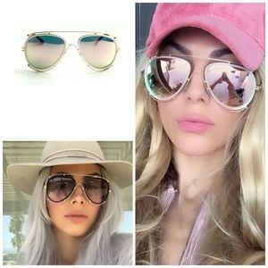 Accessories - ✨New! Rosey Pink & White Mirror Aviator Sunnies