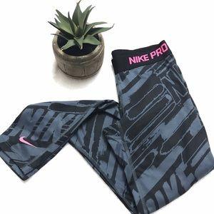Nike Pants - NIKE PRO Gray Black Logo Legging Pants