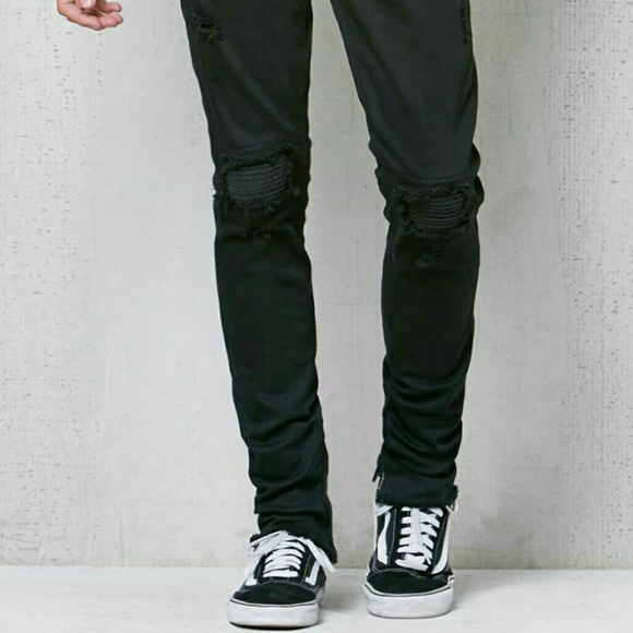 Pacsun Stacked Skinny Destroyed Moto Zip Jeans. M 59487ac6fbf6f93cb000e7c8 65419897e