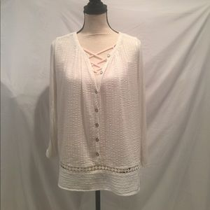 Lucky Brand Textured Button Down Tunic L/S
