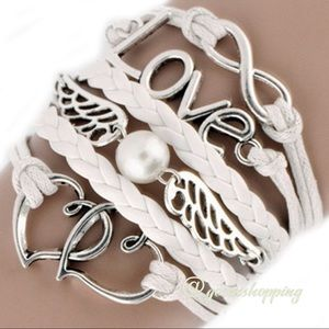 Goensshopping Jewelry - Bo-ho Chic White Leather Charm Love Wings Bracelet