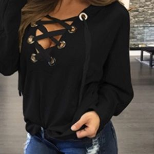 Lace-up sweater, black, new!
