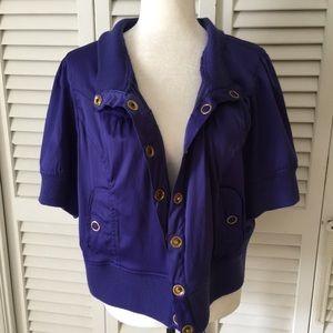 Paris Blues Jackets & Blazers - Paris Blues Purple Short sleeve Bomber Jacket   3X