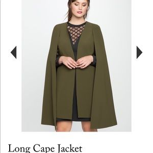 Long cape jacket in olive brand new size 20