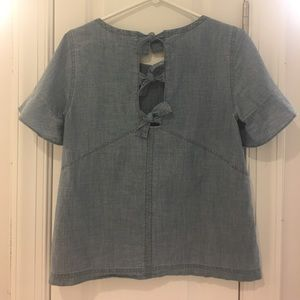 NWT Madewell chambray tie-back top