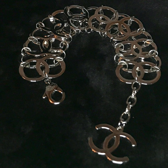 67 off chanel jewelry chanel stamped silver cc bracelet