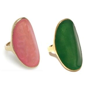 Enameled Oval Finger Candy Rings Blue Pink Green
