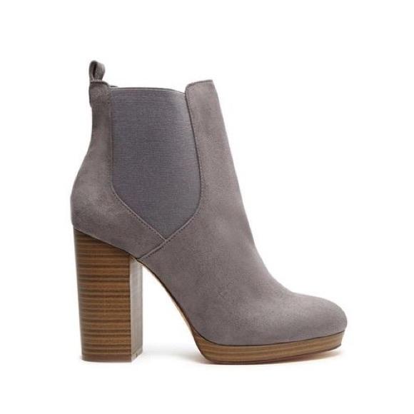 Faux Suede Platform Ankle Boots