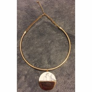 Marble and gold disc collar necklace. Never worn