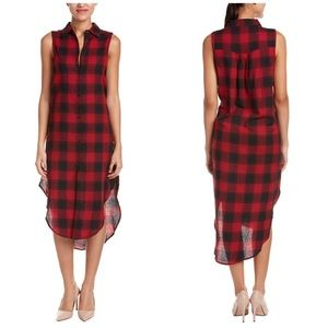 Esley Dresses & Skirts - Esley Collection Red & Black Plaid Shirt Dress