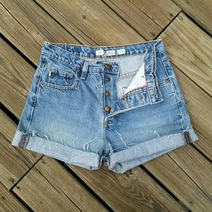 Todd Oldham Pants - VINTAGE TODD OLDHAM HI WAIST BUTTONFLY JEAN SHORTS