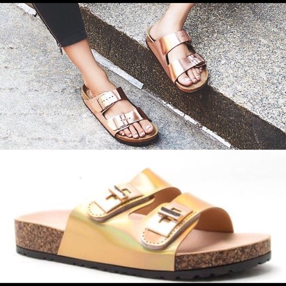 WILA Shoes - New! Gold Holographic Sliders Sandals