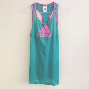 adidas Tops - Blue Adidas Pink Mesh Active Tank