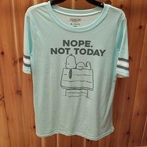 Peanuts Tops - Snoopy 'Not Today' baseball-style tshirt. BNWT.