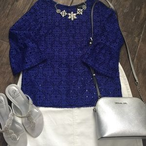 Tops - Royal blue bell sleeve top