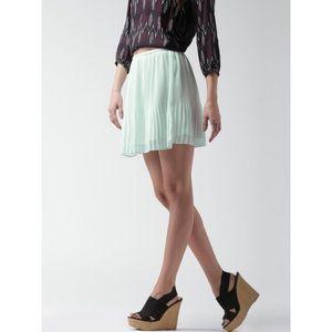 Flirty Mint Green Pleated Mini Skirt