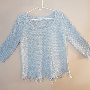 A Knitch Above Sweaters - Grey sweater fringe on bottom
