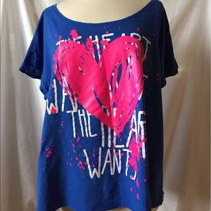 Tops - Lane Bryant 18/20 Blue with Pink hearts T-shirt