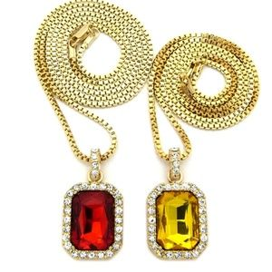 Other - Iced Out Micro Yellow & Red Ruby Necklace set