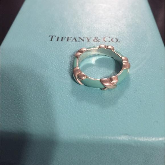 19714a837 Tiffany & Co. Jewelry | Tiffany Co Blue Enamel Signature X Ring ...