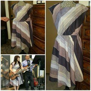 A-line Vintage striped dress