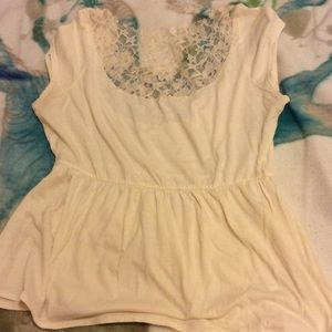 Staring at Stars Tops - Empire waist off white lace short sleeve t