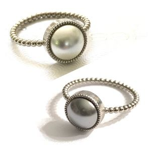Jessica Elliot Jewelry - Swarovski Pearl Rings with Silver Band