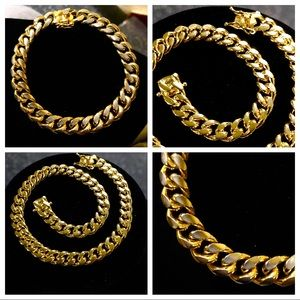 "Other - 14K Gold Plated Cuban Link Bracelet (8.5"")"