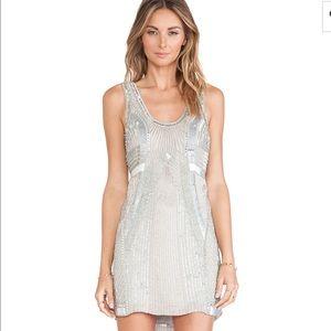 Parker Comoros Sequin Embellished Silk Shift dress