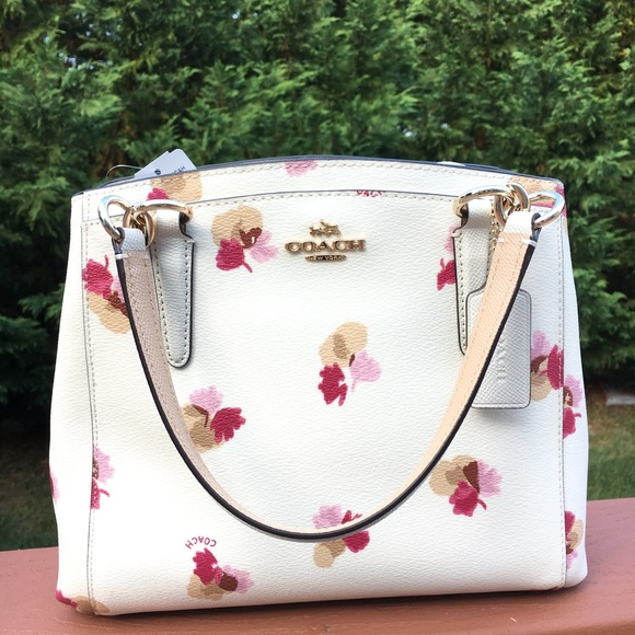 NWT COACH Minetta Floral Pink and white bag