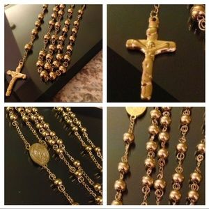 Other - 14K Gold Plated Med. Rosary Necklace