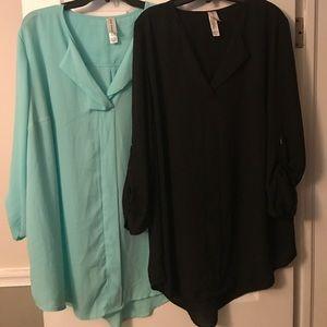 Pure Energy Tops - 2 long black and light aqua shirts