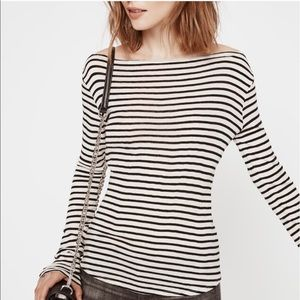 Rebecca Minkoff Black White Stripe Boatneck Top